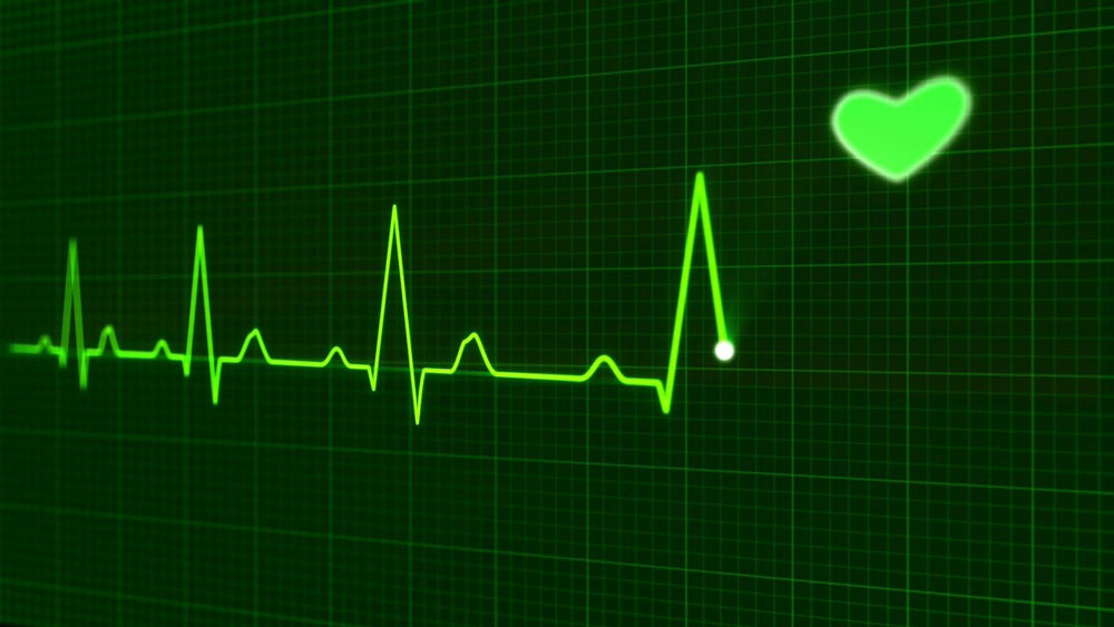 Image of a heart monitor screen including a heart icon